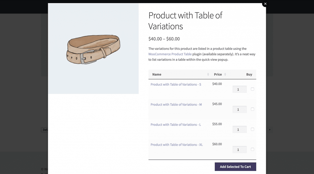 Product with table of variations