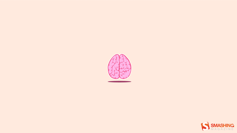 Cartoon illustration of a brain.