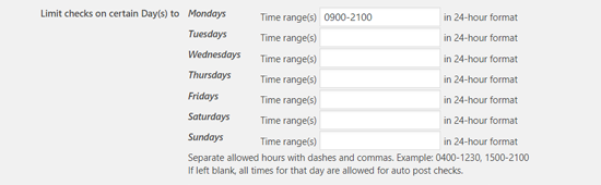 Limit check on certain days to schedule posts