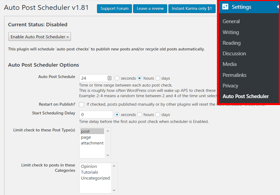 Auto Post Scheduler Settings in WordPress