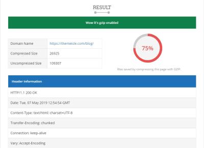 wordpress site test gzip compression enabled