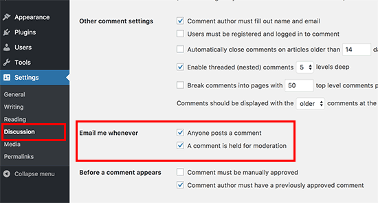 Default WordPress comment email notifications