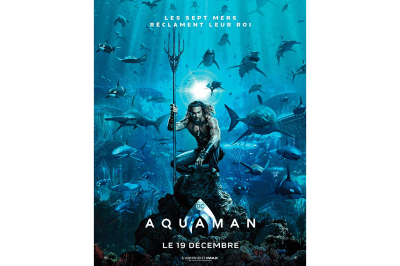 The Aquaman movie poster includes stock photos of sharks
