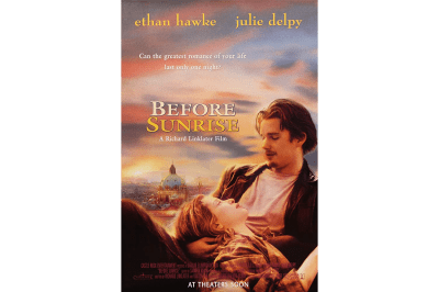 The Before Sunrise movie poster features Vienna in the background