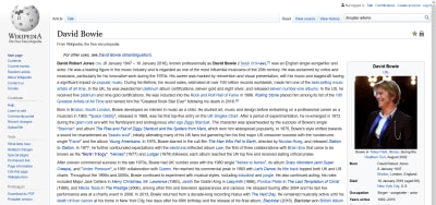 David Bowie's Wikipedia page in 2021.