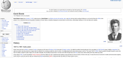 David Bowie's Wikipedia page in 2005.