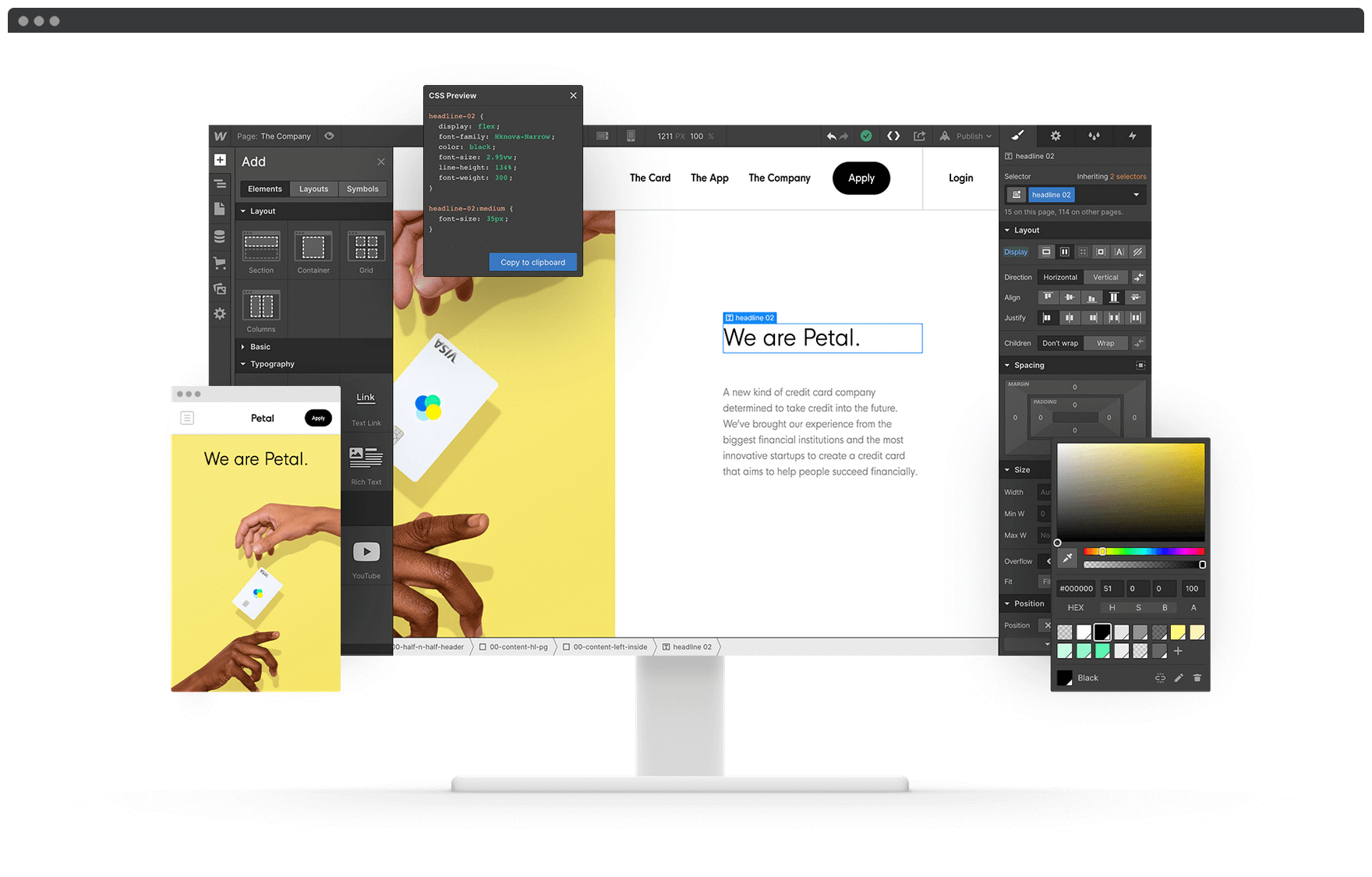 A showcase for the Webflow editor.