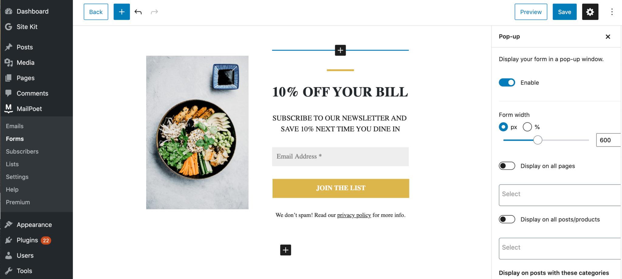A MailPoet e-commerce signup form.