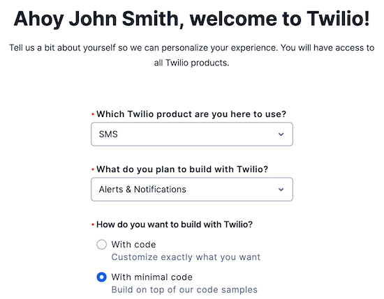 Twilio sign up information
