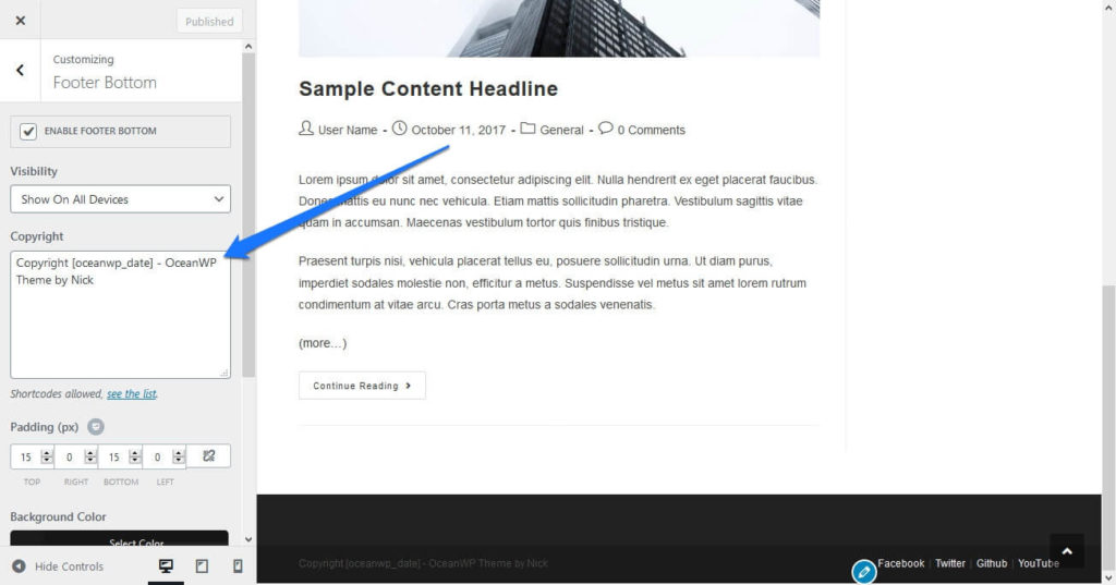 customize powered by wordpress credit in customizer