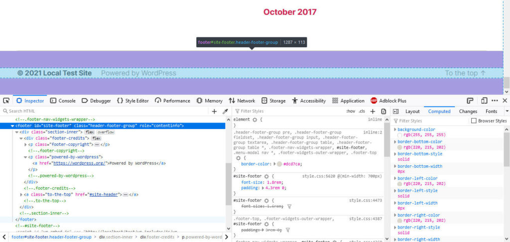 wordpress footer markup in browser developer tools