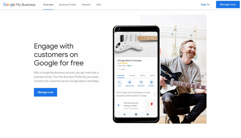 The Google My Business service for local SEO.