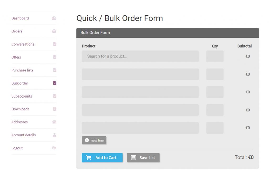 Quick or Bulk Form order