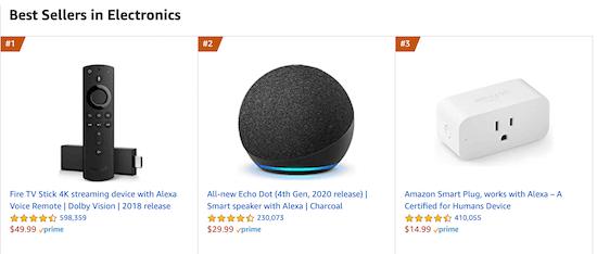 Amazon popular products example