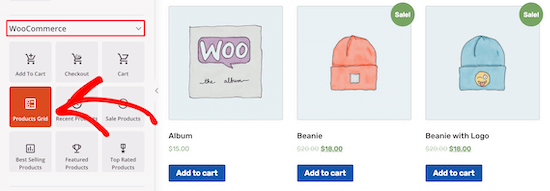 Select WooCommerce products grid