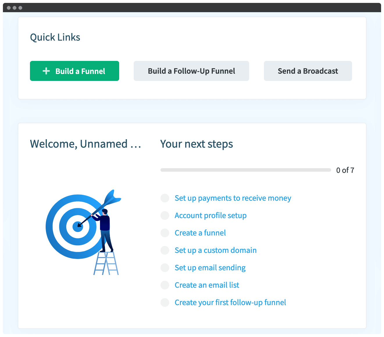 The QuickFunnels Quick Links menu.