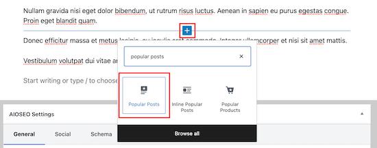 Select MonsterInsights popular posts block