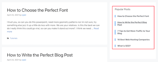 Most commented posts sidebar example