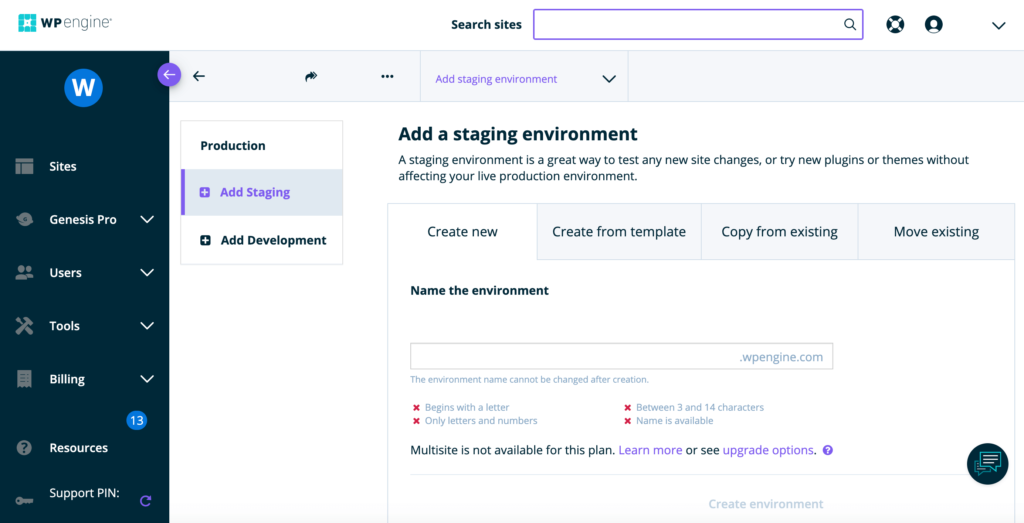 If you choose managed WordPress, then you'll get access to a one-click staging environment.