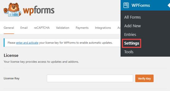 Enter WPForms license key