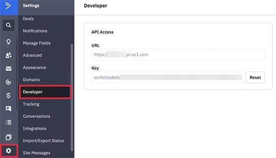 ActiveCampaign API keys