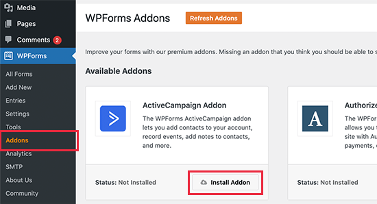 WPForms ActiveCampaign addon