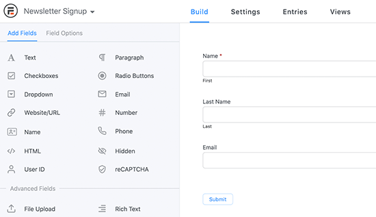 Edit your form in Formidable Forms