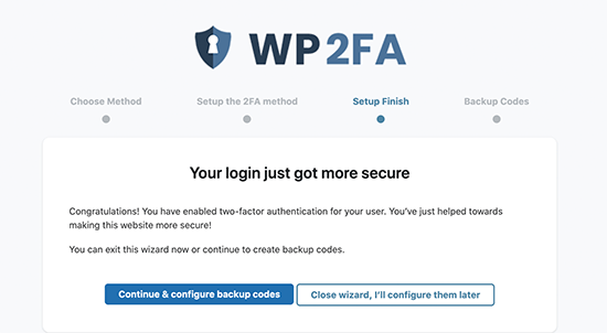 Generate backup codes
