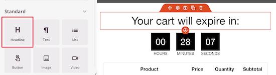 Countdown timer header