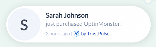TrustPulse alert notification