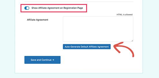 Generate affiliate agreement