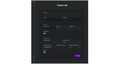 Custom configuration for new WordPress site.