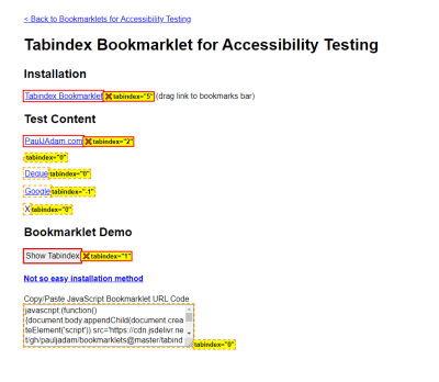 A demo page for the Tabindex Bookmarklet. Every element with a tabindex is identified, and links with positive tabindexes are marked with a red X.