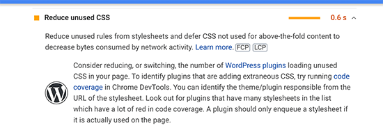 Unused CSS code issue in Google Pagespeed Insights