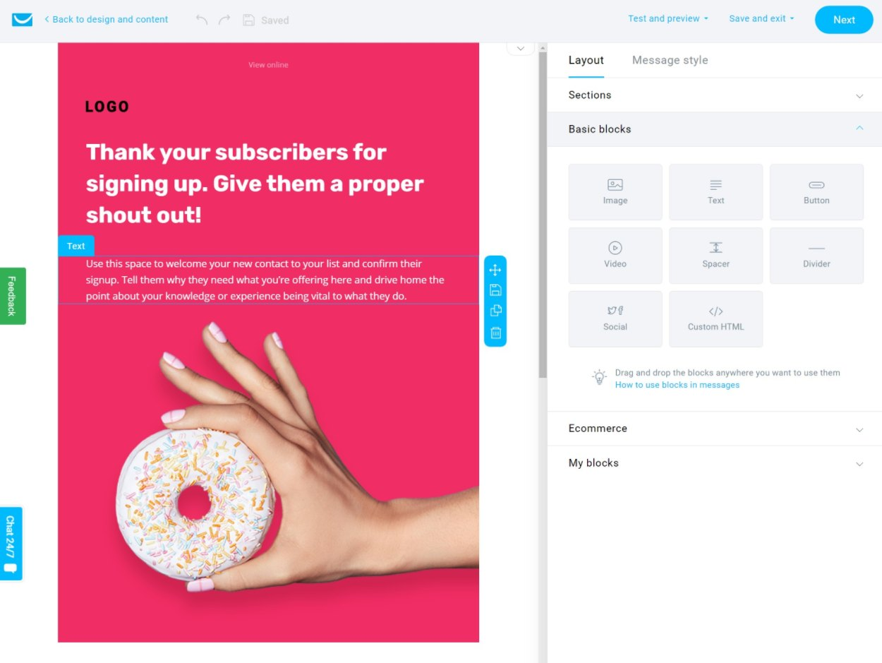 GetResponse email builder