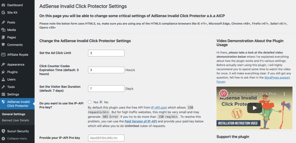 The Google AdSense Invalid Click Protector (AICP) plugin.