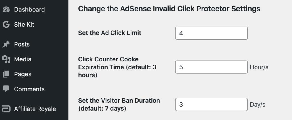 The Google AdSense AICP click limit settings.