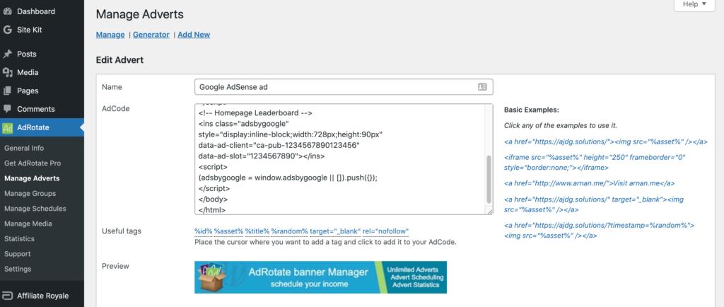The Google AdSense AdRotate plugin.