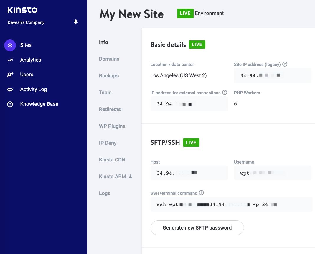 Kinsta hosting review: site dashboard