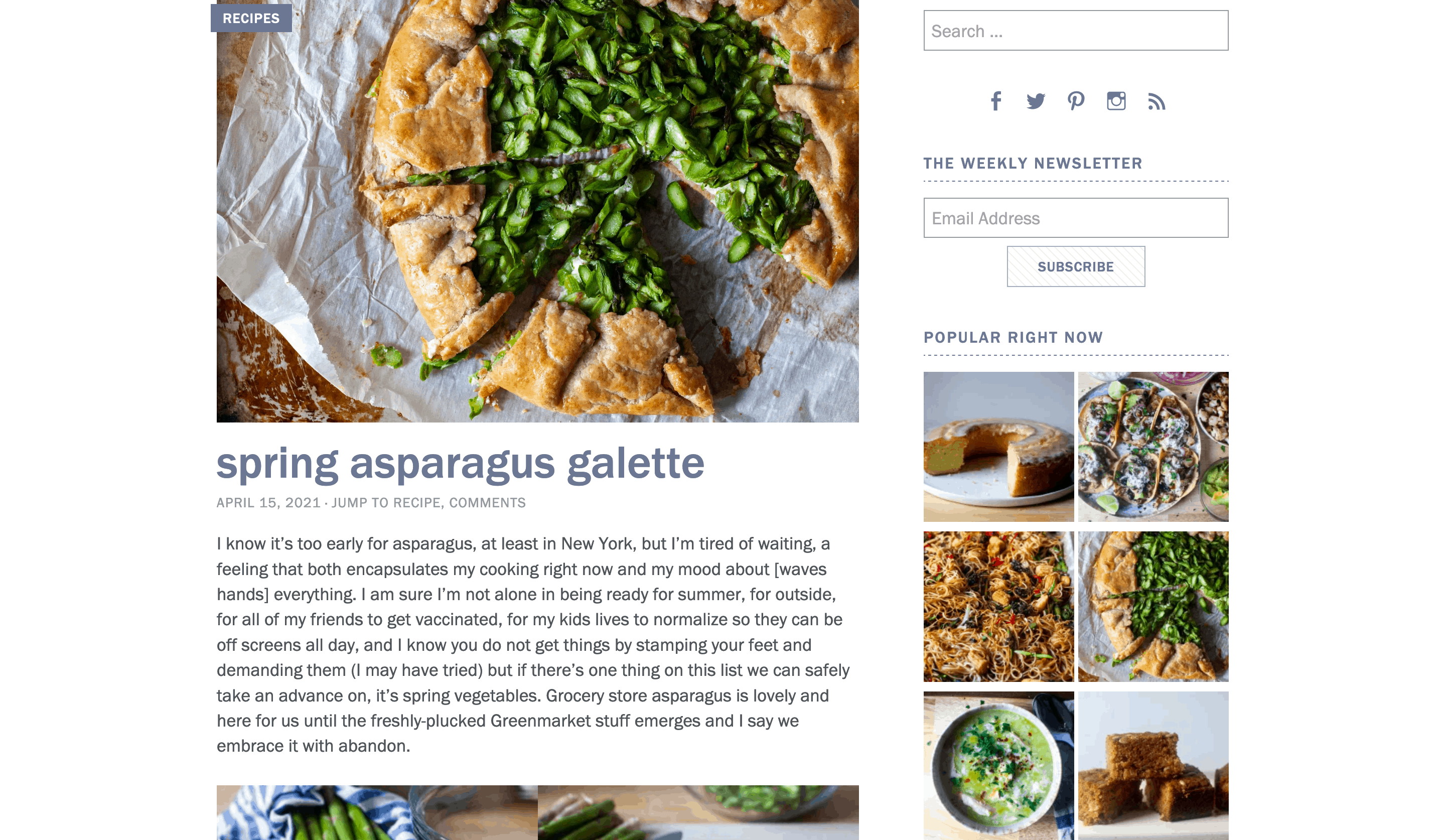 Additional functionality on a food blog.