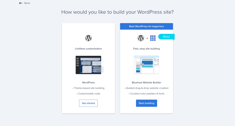 Installing WordPress on Bluehost.