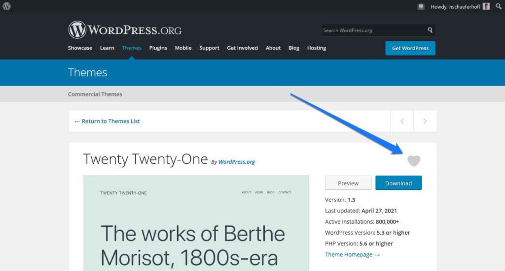 favorite themes in wordpress directory