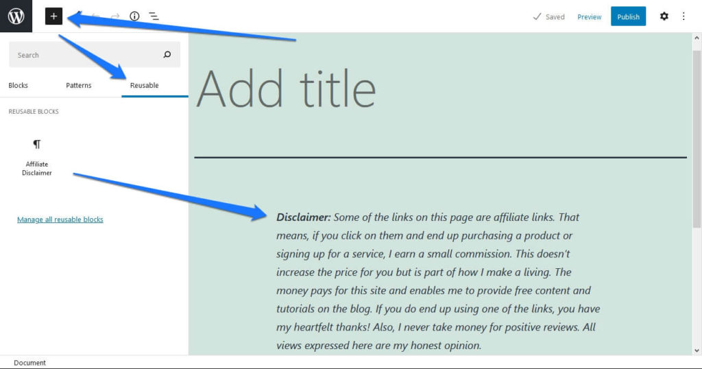 add reusable block in editor
