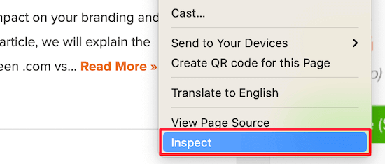 Right click and inspect