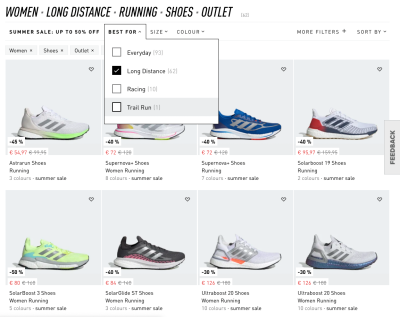 On Adidas, the filters are displayed above the product list. Each filter group opens an overlay. However, with every filter input, the filter group would need to be re-opened.