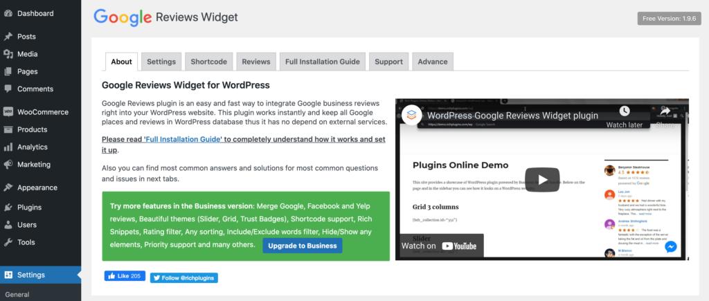 The Google Reviews Widget plugin.