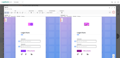 Visual testing dashboard showing differences of a page