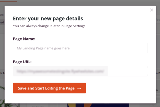 Enter a Page Name and Page URL