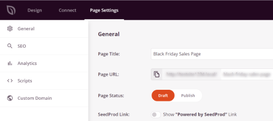 SeedProd page settings