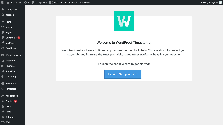 The main WordProof setup page.